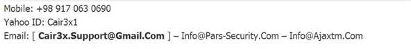 Pars-security.com contact details