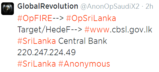 a Tweet about hacking SriLanka central bank