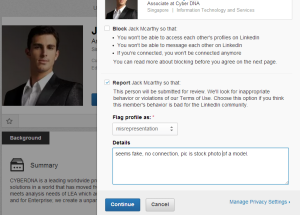 Report the profile for review by LinkedIn