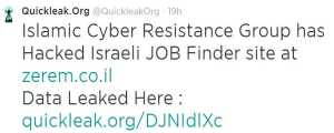 The Islamic Cyber Resistance (ICR) leaking an internal database
