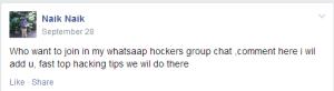 Facebook hacktivist post