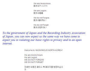 Anonymous Japan and Anonymous North Korea Facebook Posts