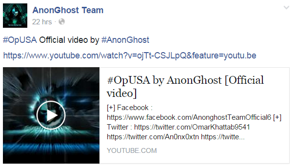 AnonGhost post about #OpUSA