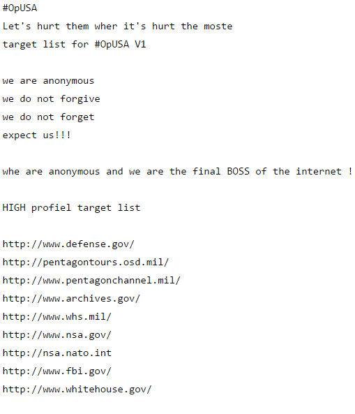 Partial list of #OpUSA targets in 2013
