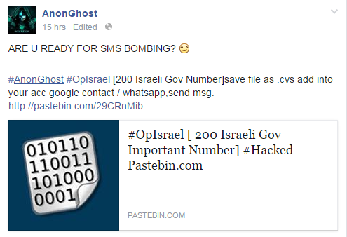 Post from AnonGhost threatening to send messages to Israeli telephone numbers