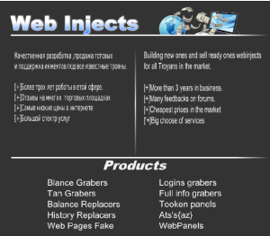 Web injections are sold on a Russian underground forum