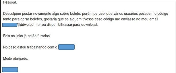A hacker asks for help in generating Boletos, a payment method consisting with bank tickets, commonly used in Brazil
