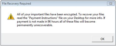 After the ransomware finishes encrypting the files, a message will popup announcing that all the files were encrypted