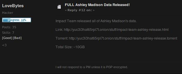 The message containing the link for downloading the data stolen in the  Ashley Madison hack