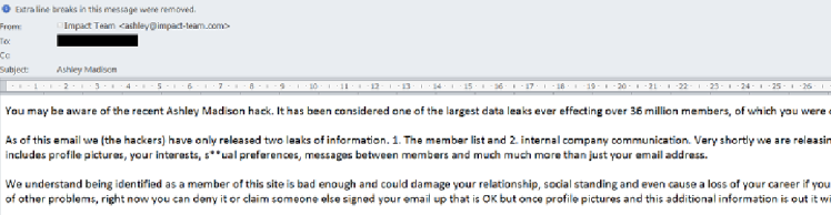 A fraud email message allegedly sent by Impact Team