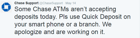 Chase Bank's technical support tweeted about a problem with their ATMs