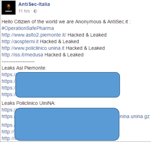 AntiSec-Italia published the outcomes of the operation on its Facebook page