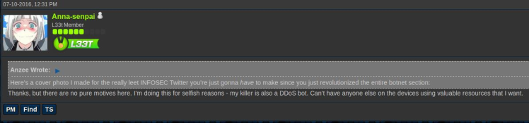 Anna-senpai's first reference to his unnamed DDoS botnet