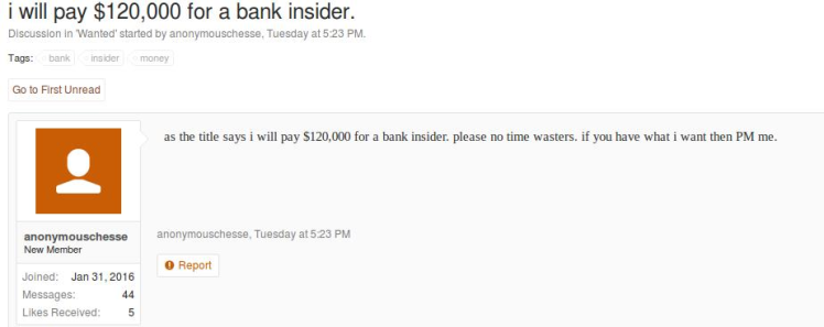 A post by a forum member seeking a bank insider in return for $120,000