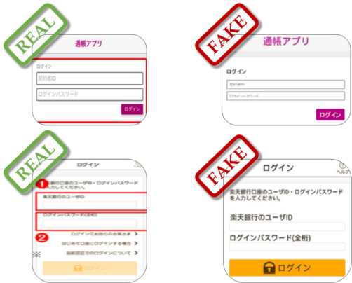 The fake pages of Japanese banking applications