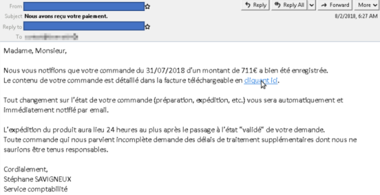 Example of a weaponized email targeting French users in early August 2018